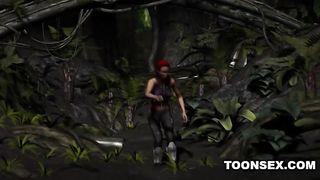 Зловещий паук с хуем выебал пилотку рыжей бабы археолога в джунглях